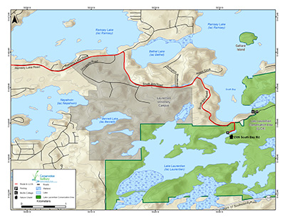 directional-map for Lake Laurentian Conservation area